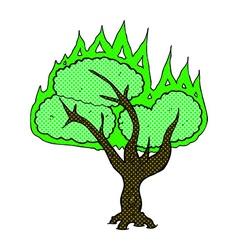 Comic cartoon spooky burning tree vector