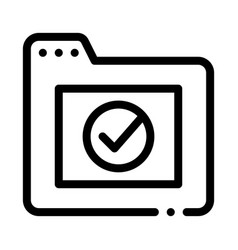 computer folder with approved mark icon vector image