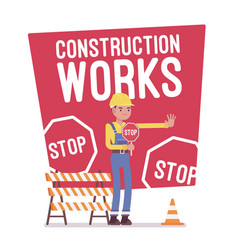 Construction works stop poster vector