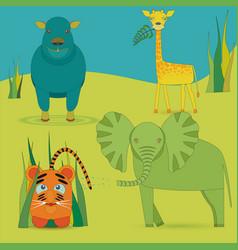 Cute africa animals in savanna vector