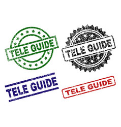 Damaged textured tele guide seal stamps vector