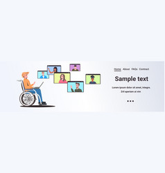 disabled man wheelchair chatting with mix race vector image