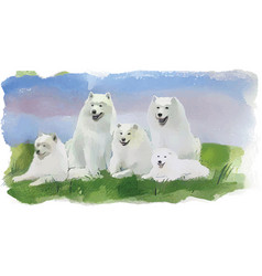 Dog husky four white dogs vector
