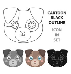 dog muzzle icon in cartoon style isolated on white vector image