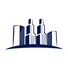 downtown city view of buildings icon vector image