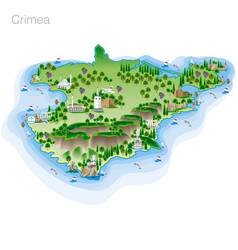 drawing of color crimea tourist map vector image