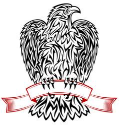 Eagle ribbon symbol emblem tattoo outlines black vector