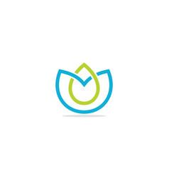 eco leaf shape line bio logo vector image