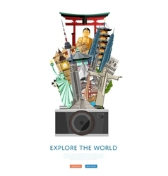 Explore world poster with famous attractions vector