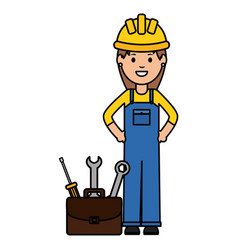 female builder worker with helmet and toolbox vector image