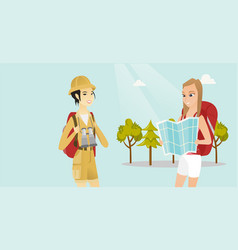 Female travelers searching right direction on map vector