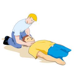 first aid measuring pulse through carotid artery vector image