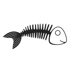 fish skeleton icon marine life black symbol vector image