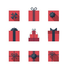 Flat gift box icon set vector image