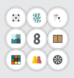 Flat icon play set cube backgammon jigsaw and vector