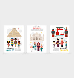 Flat multiracial people posters vector