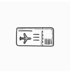 Flight ticket sketch icon vector image