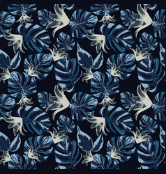 flowers grey and dark blue leaves seamless vector image