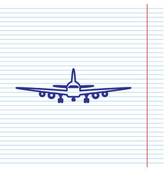 Flying plane sign front view navy line vector