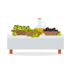 Fresh Harvest of Olives Flat Design Concept vector image