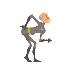 full length portrait of elderly superhero vector image