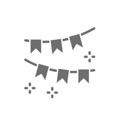 garland of flags party decoration grey icon vector image