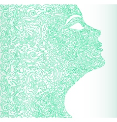 girls face from a floral vector image