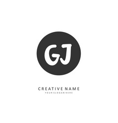 Gj initial letter handwriting and signature logo vector