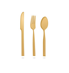 gold knife fork and spoon vector image