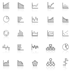 Graph line icons with reflect on white background vector