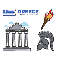Greece travel destination famous tourist landmarks vector