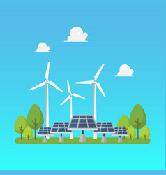 green energy windmills and solar panels vector image