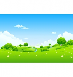 Green landscape with trees vector