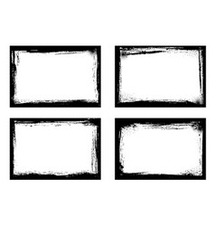 grunge frames isolated black borders set vector image