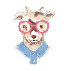 Hand drawn portrait of goat baby with accessories vector
