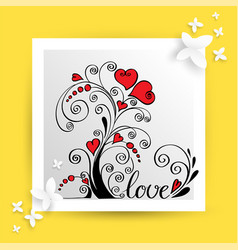 heart flower for love card vector image