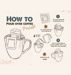 How to pour over coffee portable sketch vector