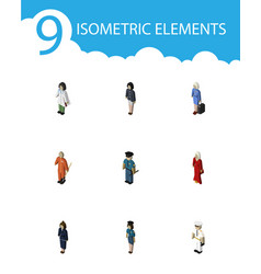 Isometric people set of female hostess girl and vector