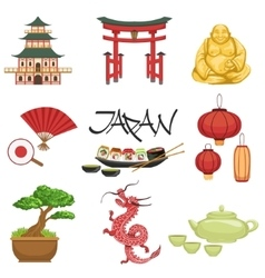 Japanese culture symbols set vector