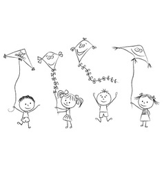 Kids with flying kites vector
