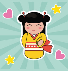 Kokeshi doll cute hearts background vector
