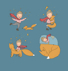 Little cute boy and foxes fairy tale about the vector