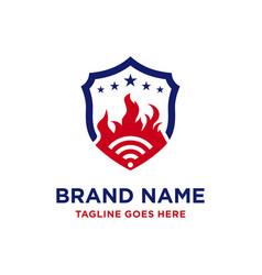 Logo design signal fire shield vector