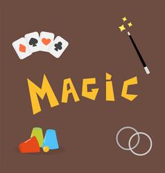 Magician tools poker cards art style gambler vector