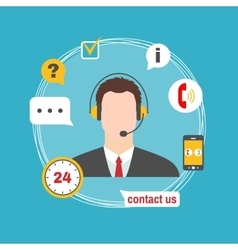 Male call center avatar icon with service icons vector