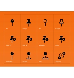 Mapping Pin icons on orange background vector image