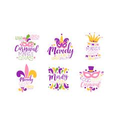 mardi gras logo design templates collection vector image