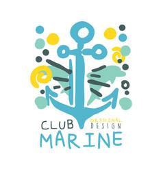 Marine club original logo design summer travel vector