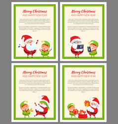 Merry christmas and happy new year posters santa vector