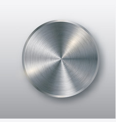 metal button with texture realistic shadow and vector image